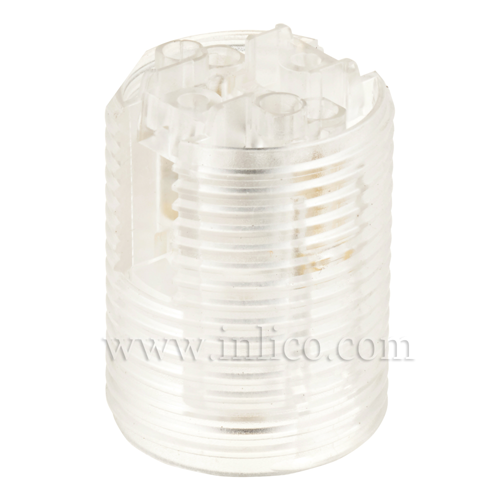 E12 FULLY THREADED SKIRT T210 CLEAR LAMPHOLDER WITH PUSH FIT TERMINALS - THERMOPLASTIC  UL APPROVED