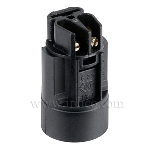 E14 CANDLE LAMPHOLDER BLACK 24MM DIA. X 42MM (RELCO)