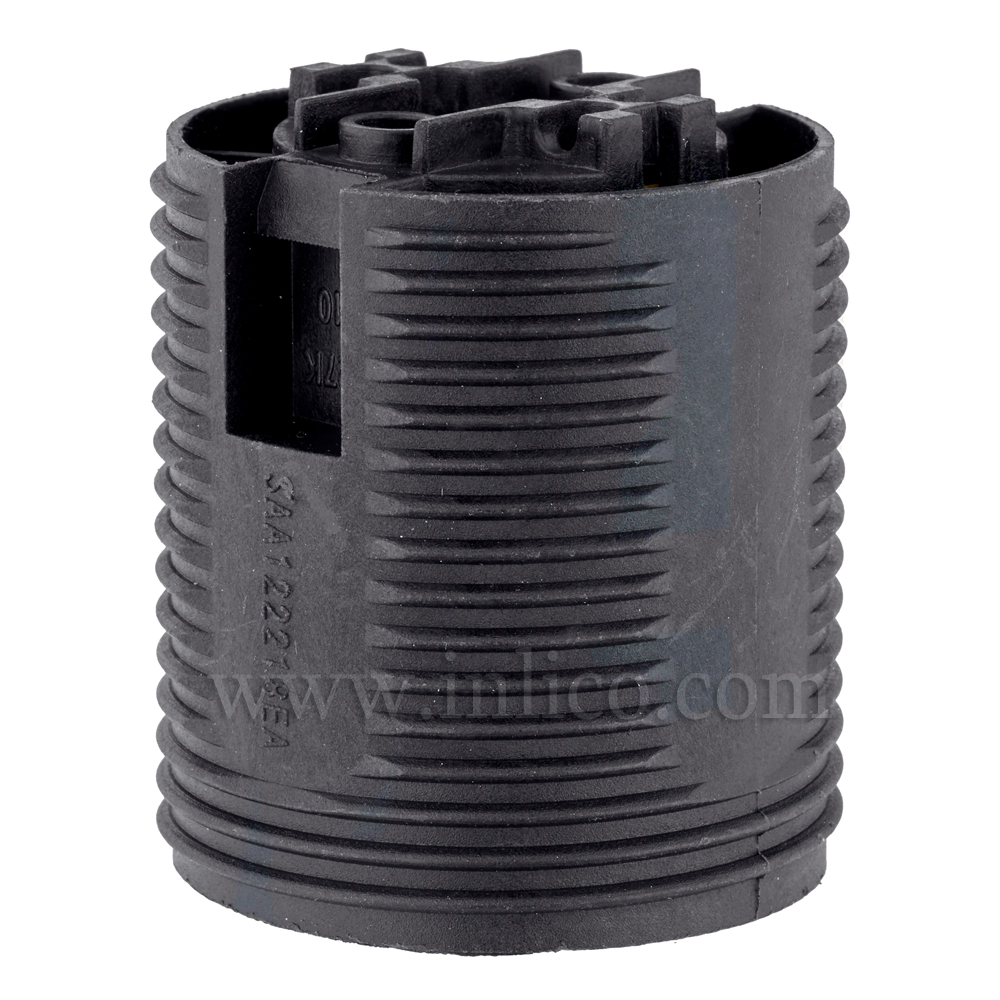 E27 LAMPHOLDER T210 BLACK FULLY THREADED  SKIRT WITH PUSHFIT TERMINALSAPPROVAL ENEC05 TO EN60238:2004