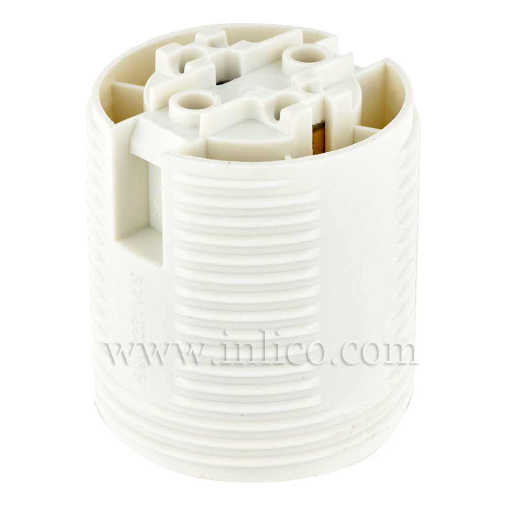 E27 LAMPHOLDER T210 WHITE FULLY THREADED  SKIRT WITH PUSHFIT TERMINALS APPROVAL ENEC05 TO EN60238:2004