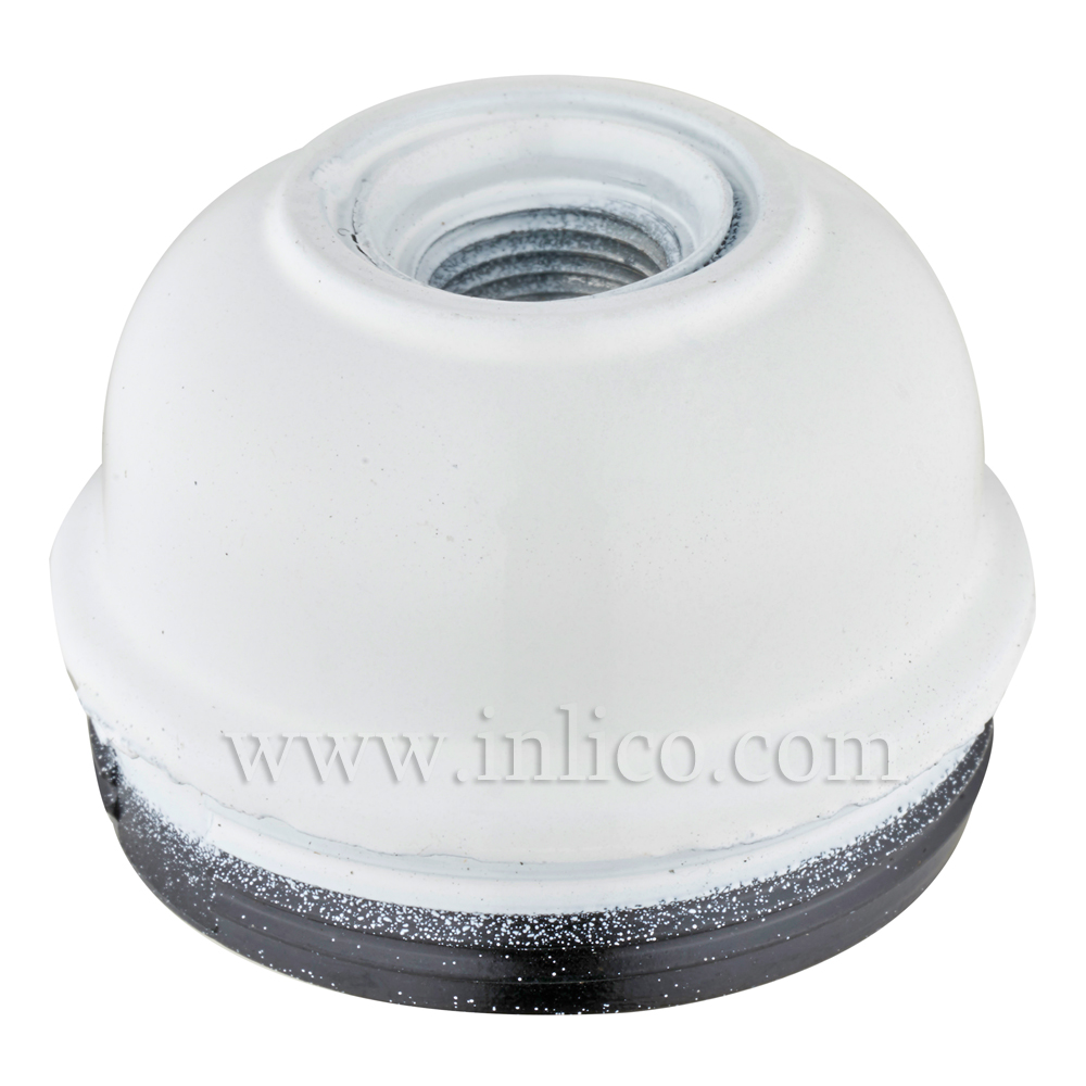 10MM METAL ENTRY EARTHED DOME WHITE BAKELITE/THERMOSETTING PHENOLIC RESIN  APPROVAL ENEC05 TO EN60238:2004