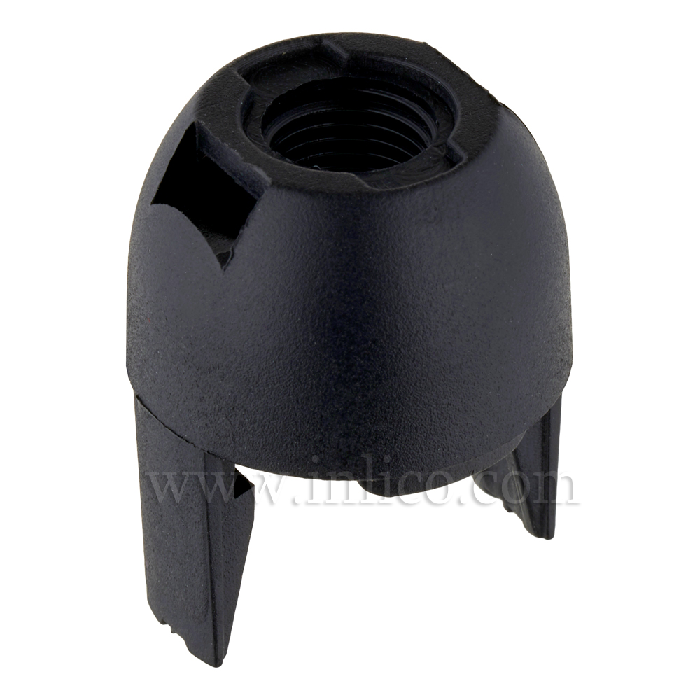 10MM PLASTIC ENTRY SNAP FIT DOME BLACK FOR E14 THERMOPLASTIC LAMPHOLDER