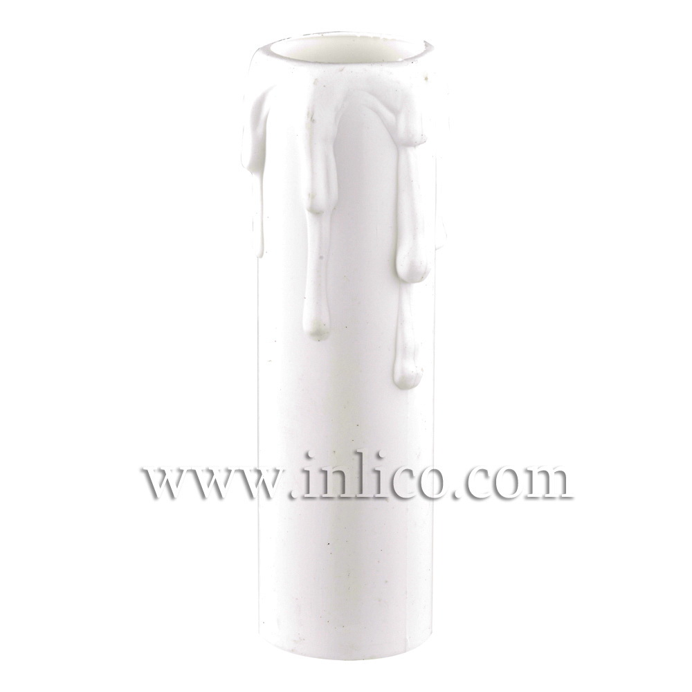 CANDLE DRIP 23ID X 100MM WHITE PLASTIC