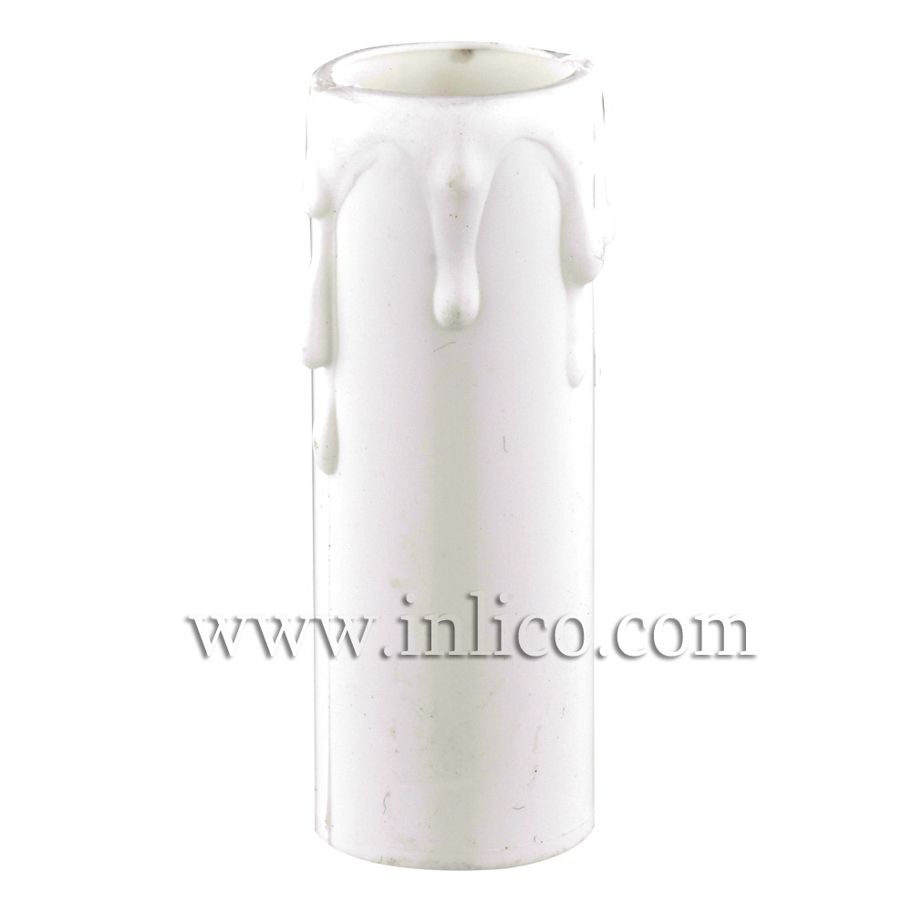CANDLE DRIP 27ID X 70MM WHITE PLASTIC