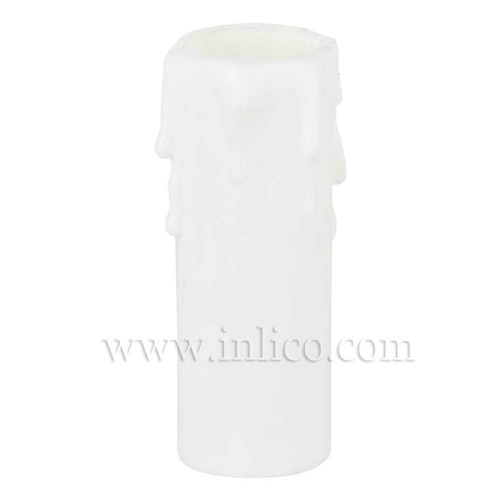 CANDLE DRIP 27ID X 90MM WHITE PLASTIC
