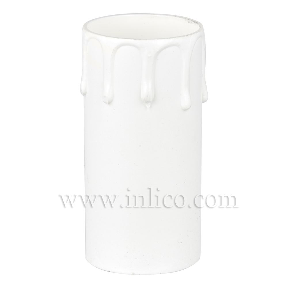 CANDLE DRIP 41ID X 85MM WHITE PLASTIC