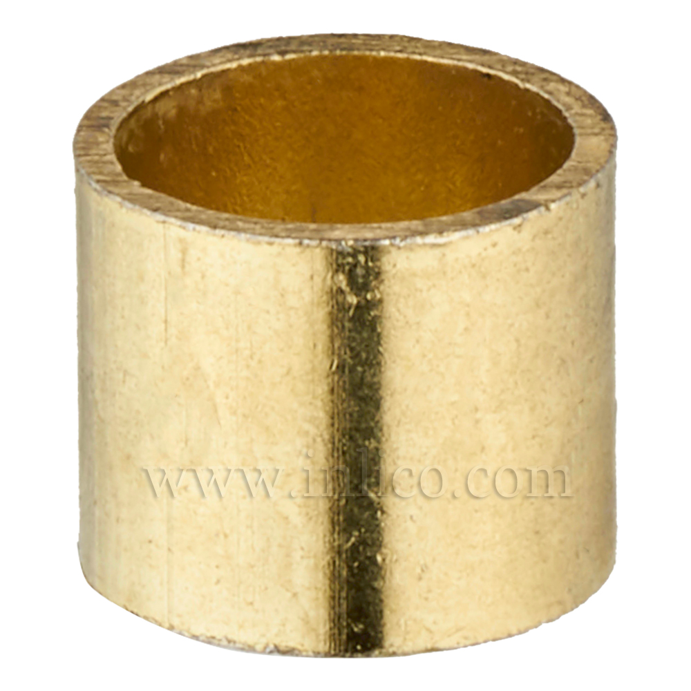 BRASS PLATED SPACER 10MM LONG 10MM CLEAR BORE TO FIT OVER M10x1 ALLTHREAD